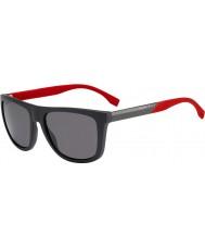 HUGO BOSS Mens Boss 0834-s HWS 3h tummanharmaa punainen polarized aurinkolasit